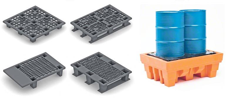 Diferentes modelos constructivos de pallet de plástico
