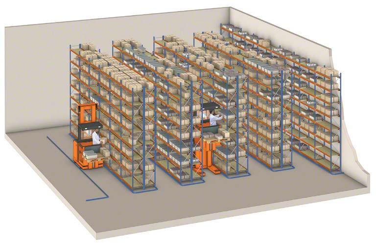 Máquinas preparadora de pedidos operando en un depósito de estanterías convencionales.