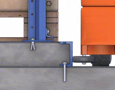 El espacio entre las guías de dos pasillos se rellena con hormigón, formando una isleta sobre la que se asientan las estanterías.