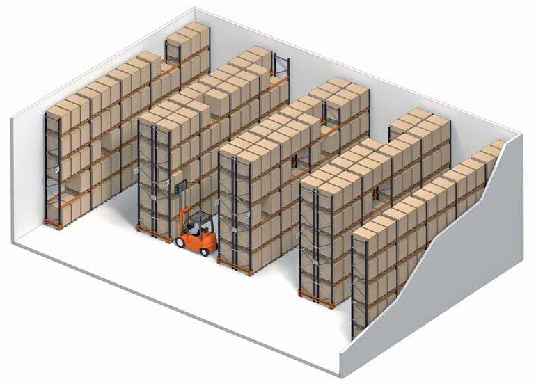 Sistema de almacenaje convencional con acceso directo al pallet