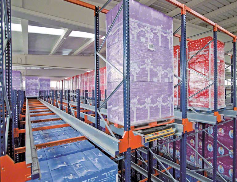 Sistema Pallet Shuttle instalado en una empresa del sector papel decorativo para empaquetado.