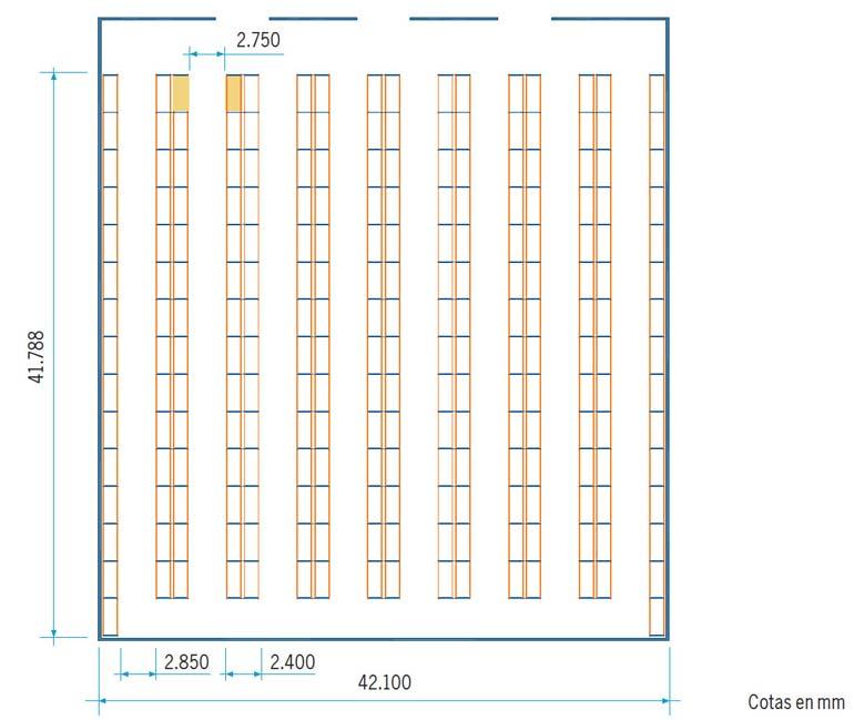 Plano de depósito con autoelevadores retráctiles