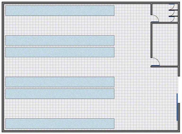 Almacén con la configuración más simple: zona de almacenaje, zona de gestión y vestuarios y aseos para el personal
