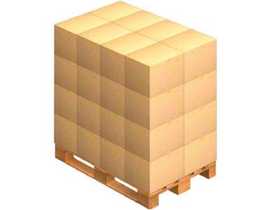 Un pallet sobre la que se colocan las cajas de embalaje que envía el proveedor. Este también puede enviar la mercadería ya paletizada (sobre un pallets).