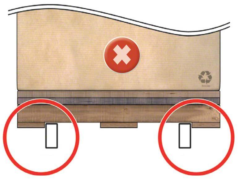 El larguero queda muy pegado a la tabla inferior y el autoelevador, al coger el pallet, puede empujarla y deformar el larguero.