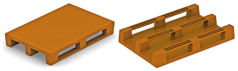Estos pallets de plástico coinciden con el sistema constructivo de los europalets de madera. No tienen por qué dar problemas salvo si no son suficientemente resistentes.
