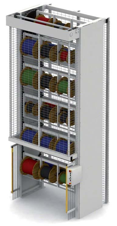Sistema de almacenaje vertical automático para bobinas.