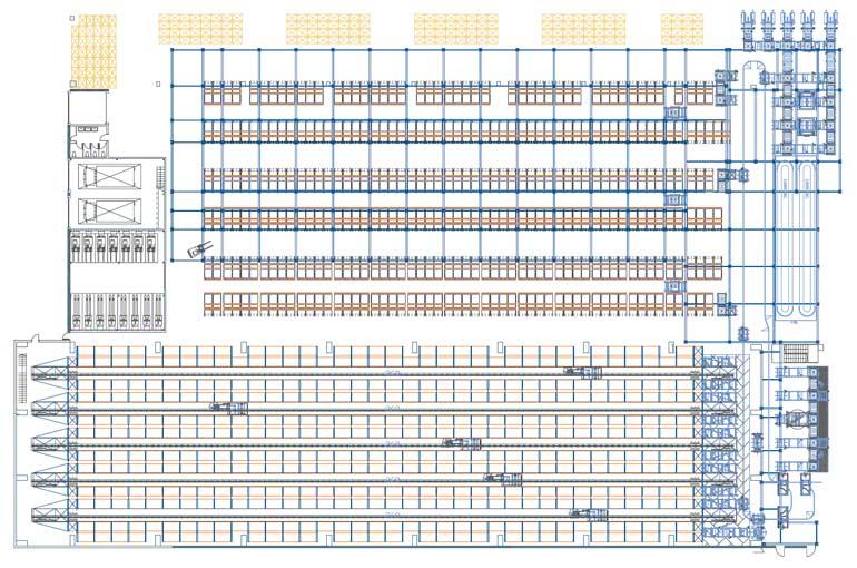 Ejemplo de distribución de los puestos de picking en un depósito automático.