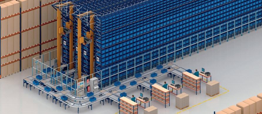 Depósito automático de cajas y racks selectivos de COVAP en Francia