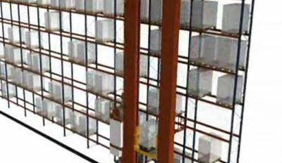 Ciclo combinado simple fondo de transelevador para pallets bicolumna