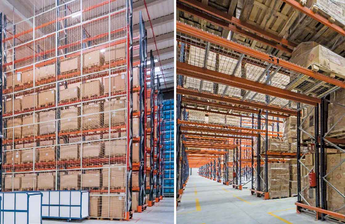 Las mallas anticaída se instalan en la parte trasera de los racks o en el techo de los pasillos transversales