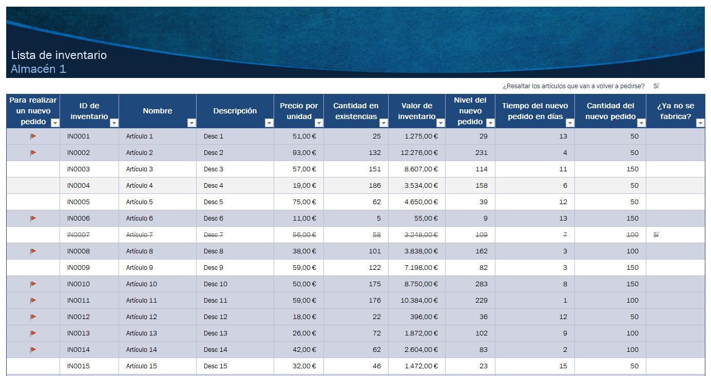 Ejemplo de plantilla para hacer inventarios en el depósito con Excel