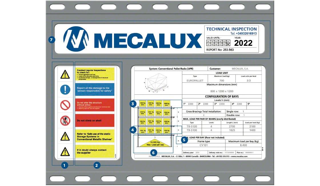 Ejemplo de una placa de características para estanterías de Mecalux